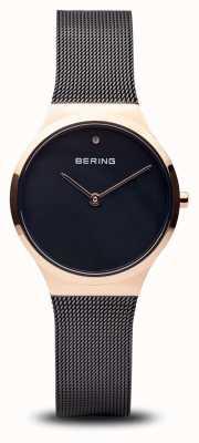 Bering Clásico | oro rosa negro pulido, cara negra 12131-166