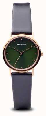 Bering Clásico | pulido oro rosa correa negra esfera verde 13426-469