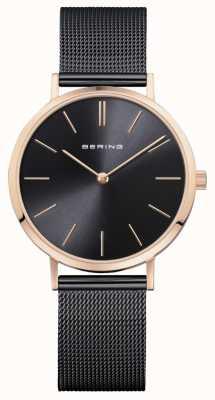 Bering Reloj de señora clásico negro oro rosa. 14134-166