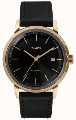 Timex Correa de cuero negra automática para hombre esfera negra TW2T22800