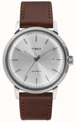 Timex Correa de cuero marrón automática para hombre esfera plateada TW2T22700