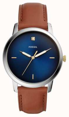 Fossil Reloj minimalista para hombre correa de cuero marrón esfera azul FS5499