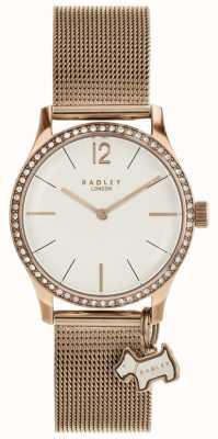 Radley Reloj de pulsera de malla de oro rosa con dije de Millbank. RY4286