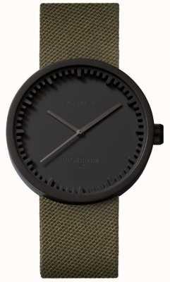 Leff Amsterdam Reloj tubo d38 cordura mate negro estuche correa verde LT71014