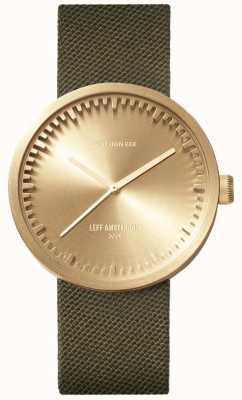 Leff Amsterdam Reloj tubo d38 | cordura latón | correa verde LT71024
