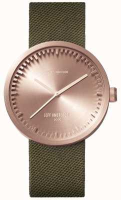Leff Amsterdam Reloj tubo d38 | cordura oro rosa | correa verde LT71034