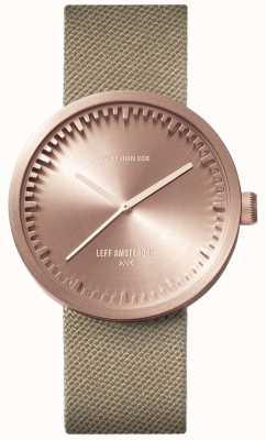 Leff Amsterdam Reloj tubo d38 | cordura oro rosa | correa de arena LT71033