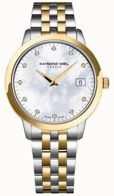 Raymond Weil Pulsera para mujer en dos tonos con tocata de diamante. 5388-STP-97081