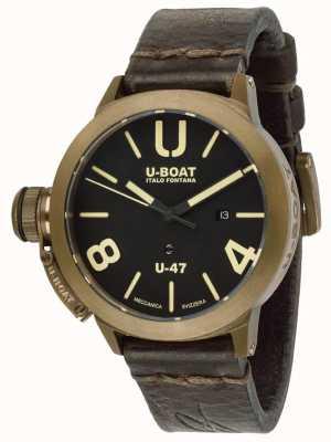 U-Boat Correa de cuero marrón automática Classico u-47 bronce U7797