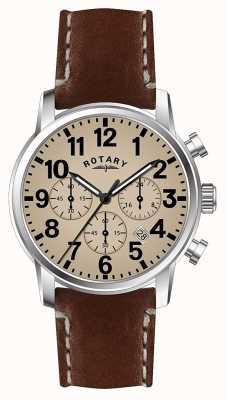 Rotary Cronógrafo para hombre correa de piel de cuarzo esfera blanca. GS00430/31