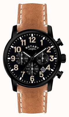 Rotary Cronógrafo para hombre correa de piel de cuarzo esfera negra. GS00433/04