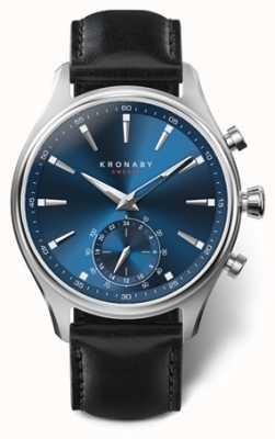 Kronaby Hombres sekel 41 | acero inoxidable | esfera azul | cuero negro A1000-3758
