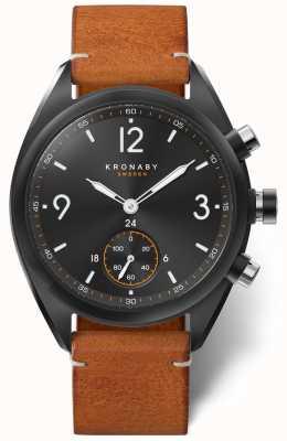 Kronaby Dial negro bluetooth apex 41 para hombre, cuero marrón a1000-3116 S3116/1