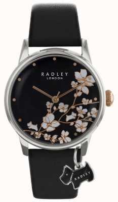 Señoras Radley | estampado de flores | esfera negra | Correa de cuero RY2687