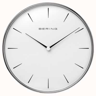 Bering Reloj de pared con esfera blanca de acero inoxidable. 90292-04R