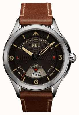 REC Correa de cuero marrón automática Spitfire RJM-02
