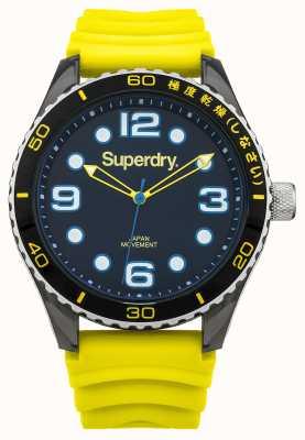 Superdry Correa de silicona amarilla | esfera negra | acentos azules SYG163YA