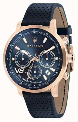 Maserati Mens gt 44mm | solar | caja de oro rosa | esfera azul | cuero R8871134003