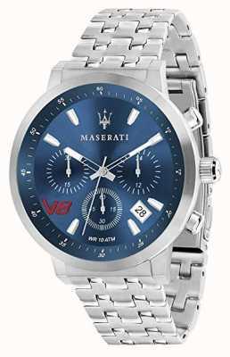 Maserati Mens gt 44mm | esfera azul | pulsera de plata de acero inoxidable R8873134002