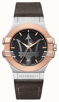Maserati Potenza para hombre 42mm | chapado en oro de acero inoxidable | stra marrón R8851108014