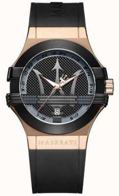 Maserati Analógico potenza para hombre | esfera negra | correa de cuero negro R8851108002