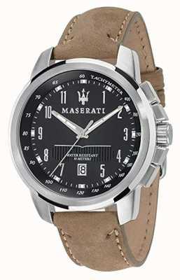 Maserati Hombre suceso 44mm | esfera negra | correa de cuero color canela R8851121004