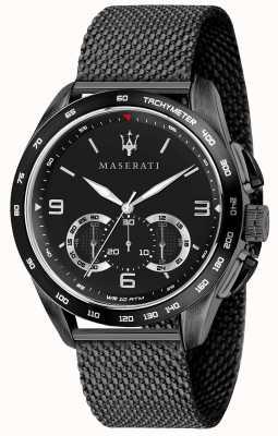 Maserati Hombre traguardo 45mm | esfera negra | pulsera de malla negra R8873612031