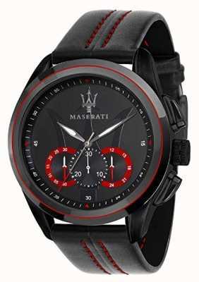 Maserati Cronógrafo para hombre traguardo | esfera negra | cuero negro R8871612023
