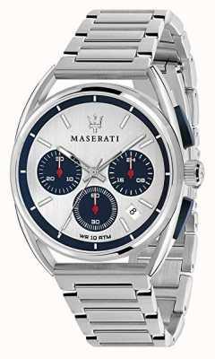 Maserati Mens trimarano 41mm | esfera plateada / azul | acero inoxidable R8873632001