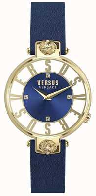 Versus Versace Kirstenhof para mujer | esfera azul / blanca | correa de cuero azul VSP490218