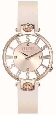 Versus Versace Kristenhof para mujer | esfera rosa / blanco | correa de cuero rosa VSP490318