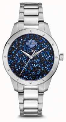 Harley Davidson Cristal de mujer con esfera azul | pulsera de acero inoxidable 76L188