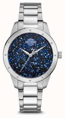 Harley Davidson Conjunto de cristal de mujer esfera azul | pulsera de acero inoxidable 76L188