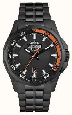 Harley Davidson Salpicadero para hombre | esfera negra | pulsera de acero inoxidable negro 78B141
