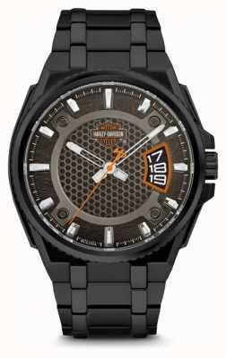 Harley Davidson Hombre para el | esfera negra | pulsera de acero inoxidable negro 78B151