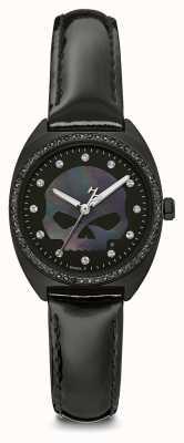 Harley Davidson Cristal de mujer willie g cráneo | esfera negra | cuero negro 78L125