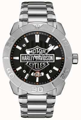 Harley Davidson Pulsera hombre acero inoxidable | esfera negra 76B169