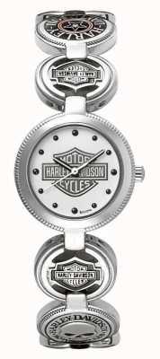 Harley Davidson Reloj pulsera de pulsera con encanto para mujer | acero inoxidable plateado 76L145