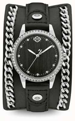 Harley Davidson Mujeres de la colección de puños de cadena | correa de cuero negro 76L184