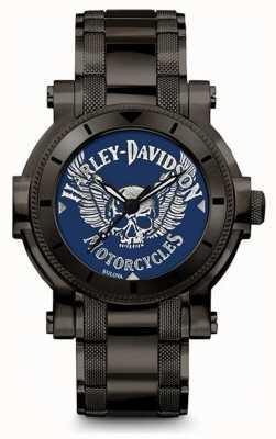 Harley Davidson Hombre para el | pulsera de acero inoxidable negro | esfera azul 78A117