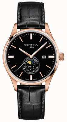 Certina Hombre ds-8 | negro | oro rosa | reloj de fase lunar C0334573605100