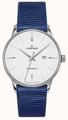 Junghans Meister damen automático | conjunto de diamantes | correa de lagarto azul 027/4846.00