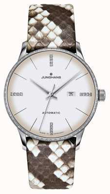 Junghans Meister damen automático | diamantes | Correas de pitón y lagarto 027/4847.00
