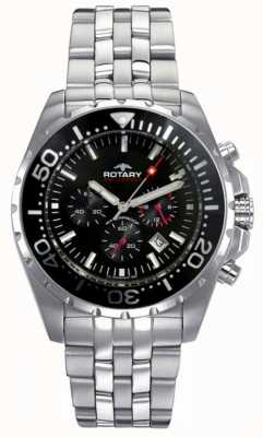Rotary Aquaspeed para hombre | pulsera de acero inoxidable | esfera negra AGB00013/C/04S