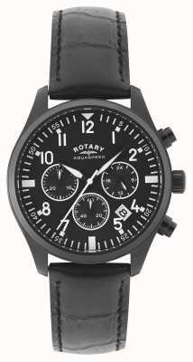 Rotary Cronógrafo para hombre | correa de cuero negro | esfera negra GS00110/04