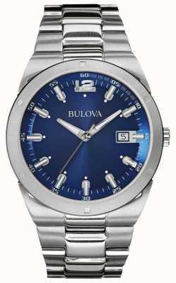Bulova Fecha de pulsera de acero inoxidable para hombre azul clásico. 96B220