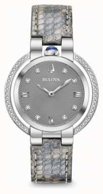 Bulova Conjunto de correa de piel con diamantes rubaiyat para mujer. 96R218