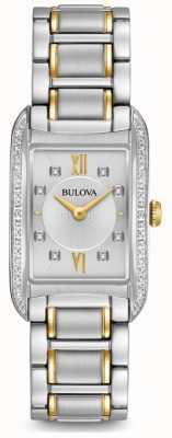 Bulova Diamante de plata para mujer con cuarzo. 98R227