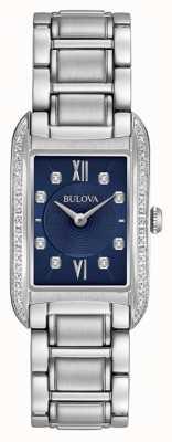 Bulova Diamante de mujer con esfera negra y pulsera de acero inoxidable 96R211