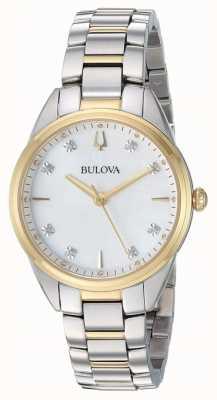 Bulova Diamante para mujer con dos tonos en caja de nácar 98P184